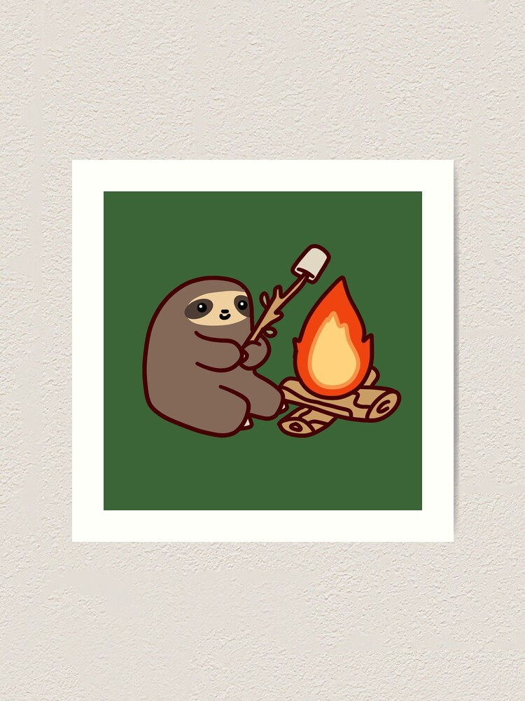 Alternate view of Campfire Sloth Art Print