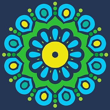 I Have the Blues Colorful Mandala by machmigo