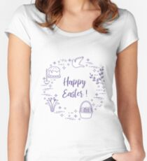 Easter cake, willow, lily,candle,dove,basket,eggs. Women's Fitted Scoop T-Shirt