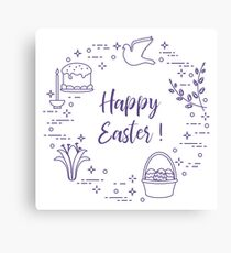 Easter cake, willow, lily,candle,dove,basket,eggs. Canvas Print