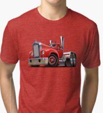 Cartoon retro semi truck Tri-blend T-Shirt
