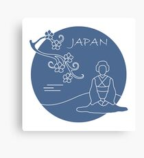 Branch of cherry blossoms and asian woman. Canvas Print