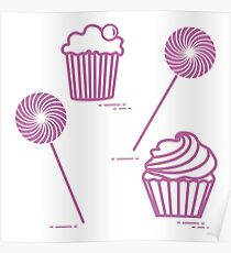 Lollipops and cakes. Poster