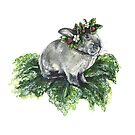 The Bunny King- Strawberry Floral Crown and Kale Throne  by fugitiverabbit