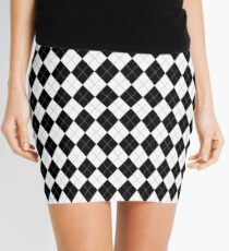 Black and White Argyle Pattern Mini Skirt