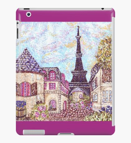 Paris Eiffel Tower inspired pointillism landscape by Kristie Hubler iPad Case/Skin