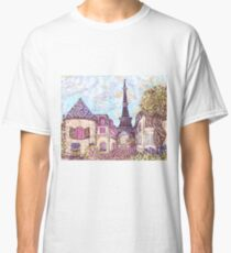 Paris Eiffel Tower inspired pointillism landscape by Kristie Hubler Classic T-Shirt