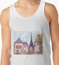Paris Eiffel Tower inspired pointillism landscape by Kristie Hubler Tank Top