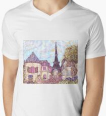 Paris Eiffel Tower inspired pointillism landscape by Kristie Hubler Men's V-Neck T-Shirt