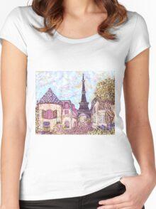 Paris Eiffel Tower inspired pointillism landscape by Kristie Hubler Women's Fitted Scoop T-Shirt
