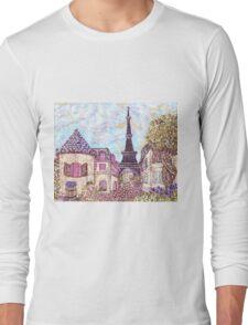 Paris Eiffel Tower inspired pointillism landscape by Kristie Hubler Long Sleeve T-Shirt