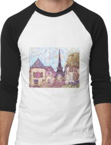 Paris Eiffel Tower inspired pointillism landscape by Kristie Hubler Men's Baseball ¾ T-Shirt