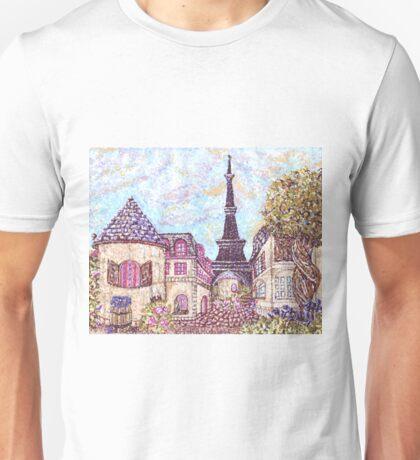 Paris Eiffel Tower inspired pointillism landscape by Kristie Hubler Unisex T-Shirt