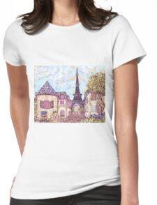 Paris Eiffel Tower inspired pointillism landscape by Kristie Hubler Womens Fitted T-Shirt