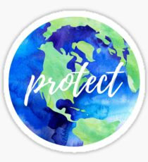 Protect the Earth Watercolor Sticker