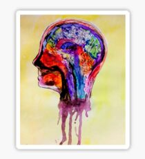 Watercolor Brain Scan Sticker