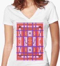 Curvy Plaid Abstract Feminine Folk Art by Kristie Hubler Women's Fitted V-Neck T-Shirt