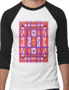 Curvy Plaid Abstract Feminine Folk Art by Kristie Hubler Men's Baseball ¾ T-Shirt
