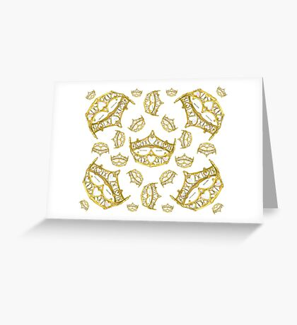 Queen of Hearts gold crown tiara tossed about by Kristie Hubler Greeting Card