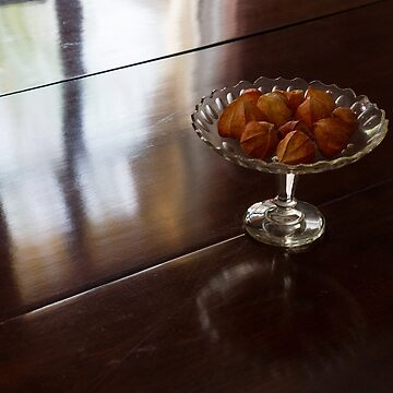 Still Life - Gleaming Wood Veneer and Elegant Crystal by GeorgiaM