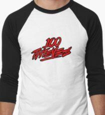 100 Thieves || RED & Black Men's Baseball ¾ T-Shirt