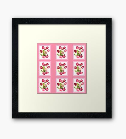 9 bunches of Pink Tulip Flowers by Kristie Hubler Framed Print