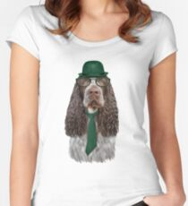 Drawing Dog breed Spaniel portrai Women's Fitted Scoop T-Shirt