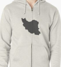 Iran Love in Charcoal Zipped Hoodie