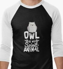 Cute Owl Is My Spirit Animal Funny Quote T Shirt Men's Baseball ¾ T-Shirt