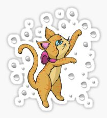 Cat Playing with Bubbles Sticker