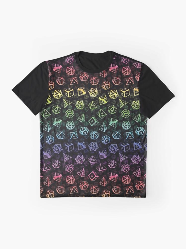 Alternate view of D20 Dice Set Pattern (Rainbow) Graphic T-Shirt