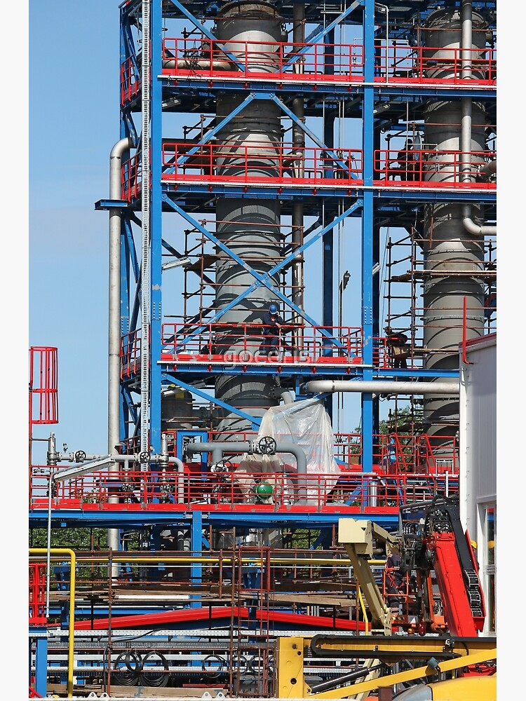 petrochemical plant construction site industry background | Poster