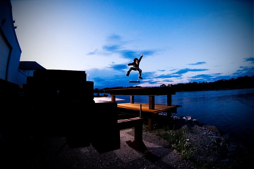 Skateboarding at dawn by Vegard Giskehaug