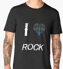 I love Rock for the Proud Scot heart Plaid Shirt Men's Premium T-Shirt