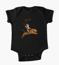 Funny Cat Riding A Wild Tiger Cute Cowboy Kitten  One Piece - Short Sleeve