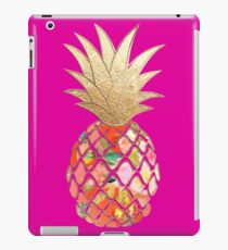Aloha Pineapple, Coral Orange+Faux Gold iPad Case/Skin