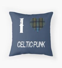 I love Celtic Punk for the Proud Scot heart Plaid Shirt Throw Pillow
