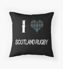 I love Scotland Rugby for the Proud Scot heart Plaid Shirt Throw Pillow