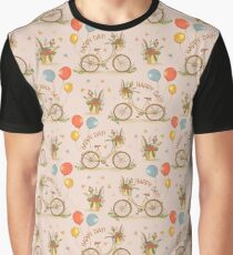 Bicycles on a pink background Graphic T-Shirt