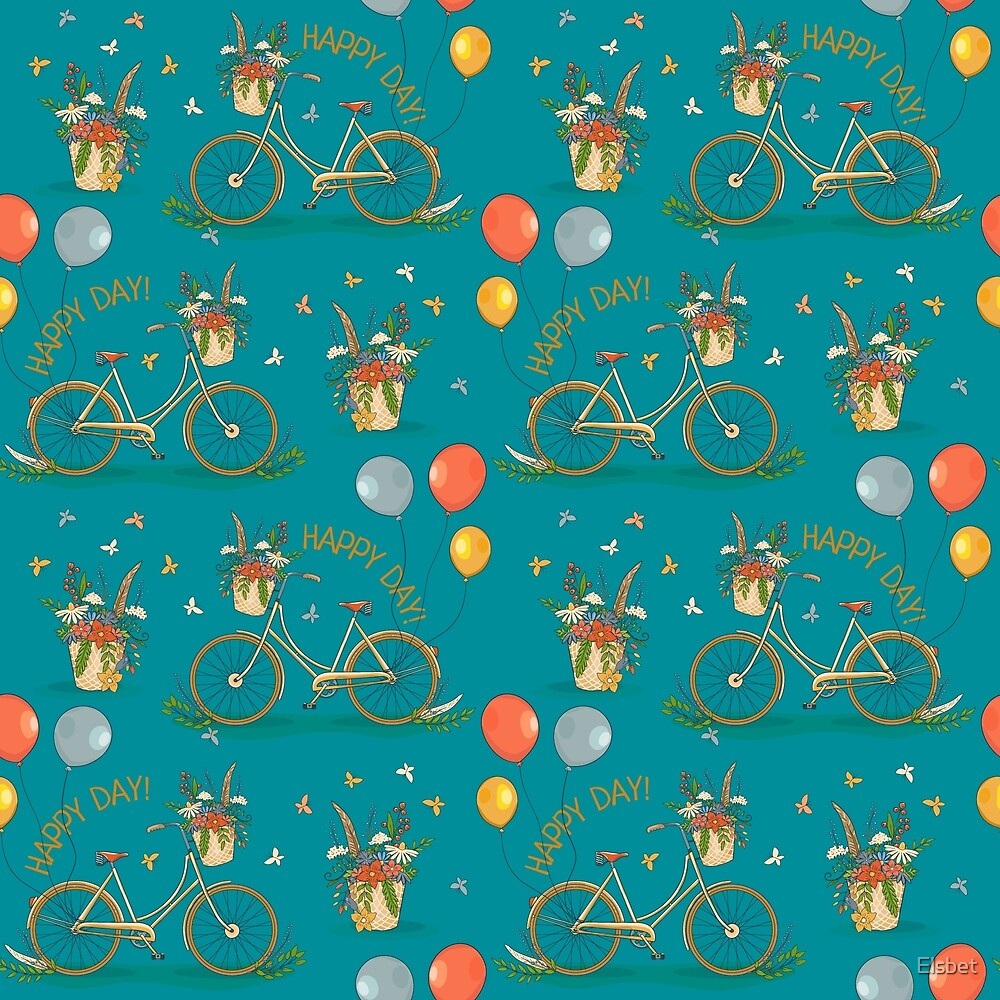 Bicycles on a blue background by Elsbet