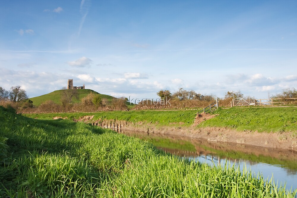 River Parrett and Burrow Mump by kernuak