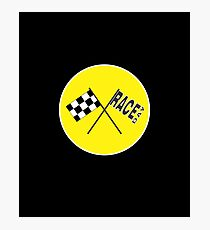 Race Day Racing Fan (Yellow) Photographic Print