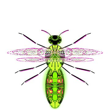 Flying science fiction android insect - glowing purple green pink yellow black by M-Lorentsson