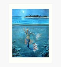Mermaid collecting moonlight. Art Print