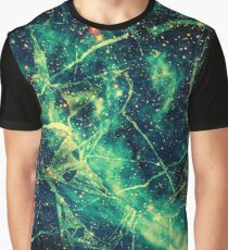 Cool Green Yellow And Black Universe - Space Design Graphic T-Shirt
