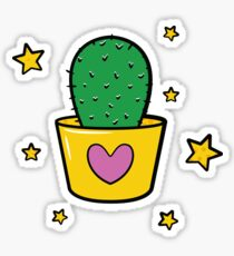 Cute Cactus with Stars Sticker