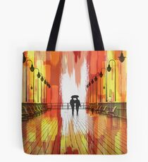 Couple on Boardwalk and Abstract Painting Tote Bag