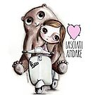 The doll and the bear with big eyes on Vespa, art Margherita Arrighi by margherita arrighi