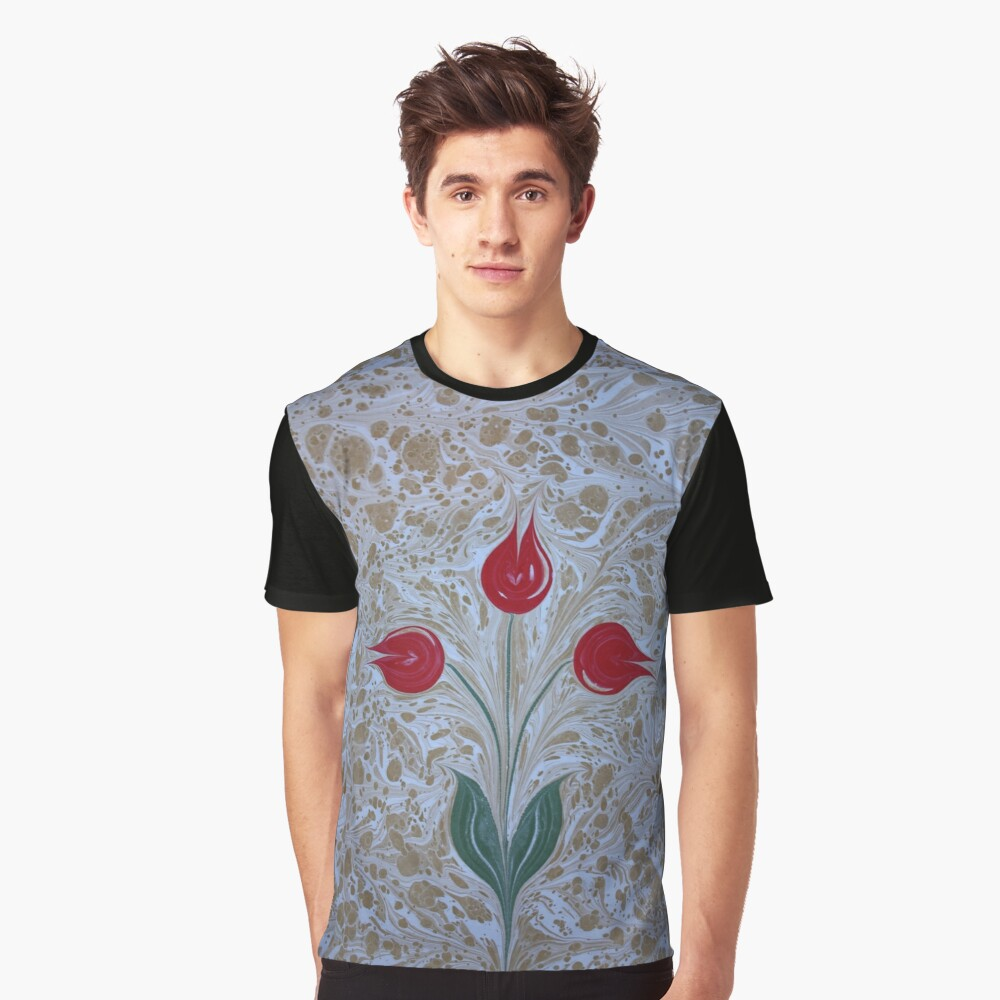 4f1c0dd4c8c8c Abstract Vintage Marbled / Painted Red Tulips | Graphic T-Shirt