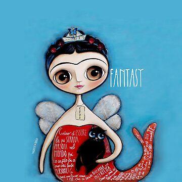 Little child big eyes Frida Kahlo mermaid with black cat by marrighi
